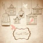 jaulas de pájaro Vintage — Vector de stock
