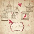 Vintage bird cages. — Stockvectorbeeld