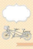 Tandem Bicycle Wedding Invitation — Stock Vector