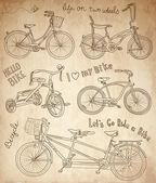 набор старинных велосипедов — Cтоковый вектор