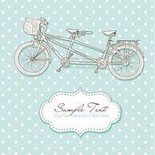 タンデム自転車結婚式招待状 — ストックベクタ
