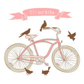 Bicycle and birds — Stock Vector
