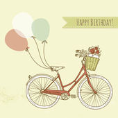 Birthday card. Bicycle with balloons — Stock Vector