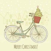 Christmas postcard. Riding a bike — Stock Vector
