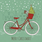 Christmas postcard. Riding a bike — Stok Vektör