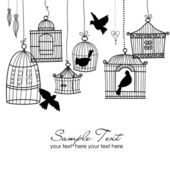 Vintage bird cages — Stock Vector