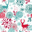 Christmas floral pattern — Stock Vector