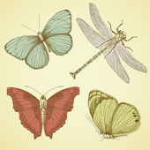 Vintage Butterfly collection — Stock Vector