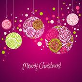 Karta s vánoční koule — Stock vektor