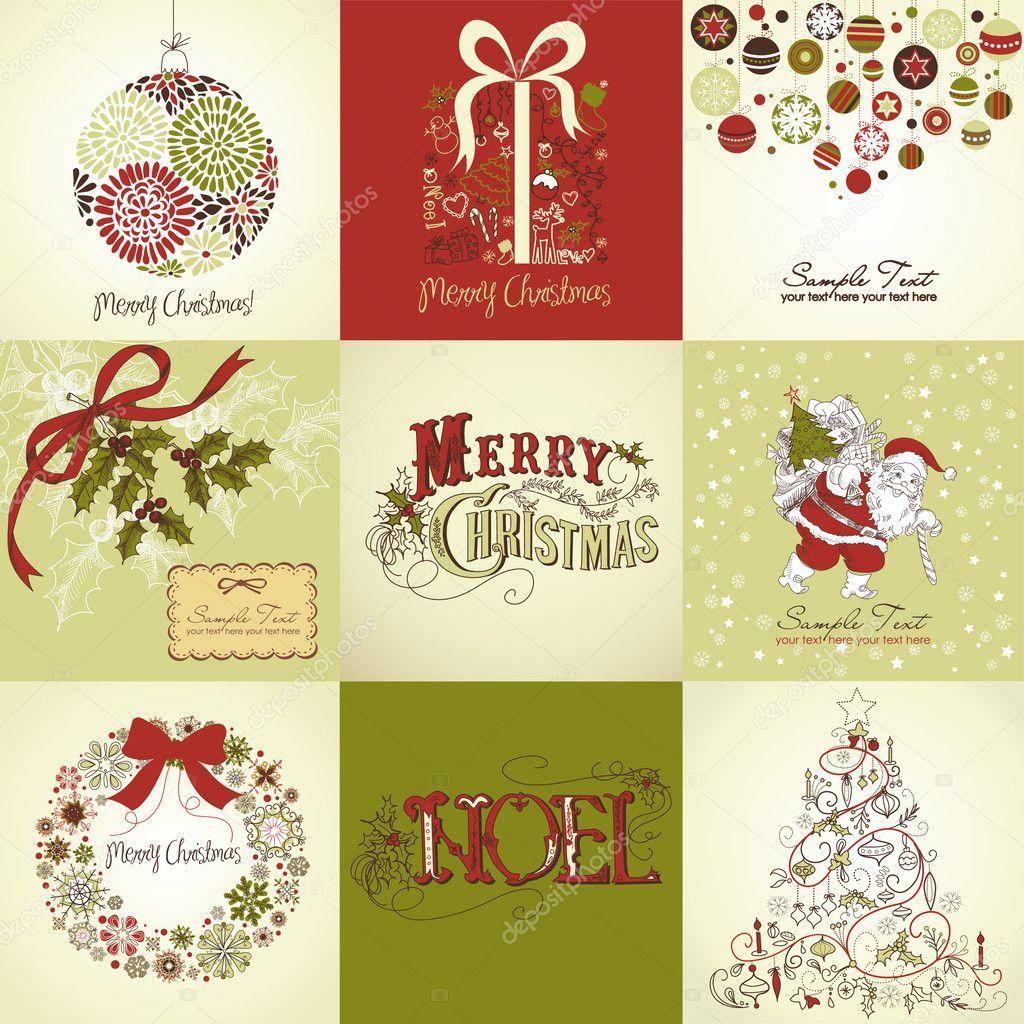 Рождественские открытки вектор 16