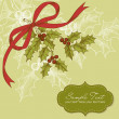 Christmas card with holly berry — Imagen vectorial