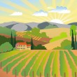 Vineyard and mountains — Image vectorielle