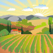 Vineyard and mountains — Imagen vectorial