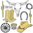 Wild West Western Set  — Stock vektor