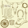 Stock Vector: Wild West Western Set