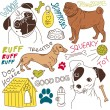 Dogs doodles set — Stock vektor