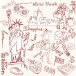 New York doodles — Stock Vector