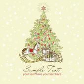 Vintage Christmas Card . — Vetor de Stock