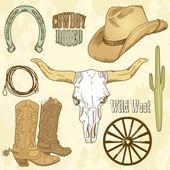 Wild West Western Set — Stock Vector