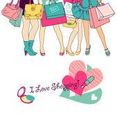 Shopping girls — Stock Vector