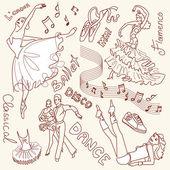 Dance doodles — Stock Vector