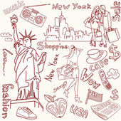 New York doodles — Stockvektor