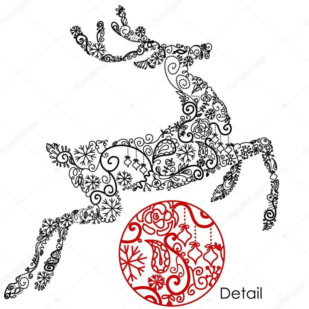 схемы новогодних оленей для вышивки крестом