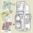 Stock Vector: Travel with your vintage camera.