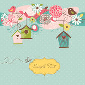 Spring background with bird houses — Stock Vector