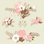 Постер, плакат: Bouquets retro flowers