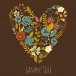 Autumn Floral Heart Card. — Stock Vector