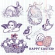 Stock Vector: Vintage Easter Set