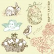 Vintage Easter Set — Stock Vector