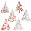 Vector de stock : Christmas tree collection.