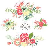 Bouquets, retro flowers — Stock Vector