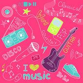 Music Doodles — Stock Vector