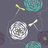 トンボと花. — ストックベクタ