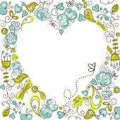Folk floral heart — Stock Vector