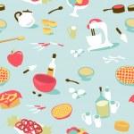 Retro seamless kitchen pattern — Stock Vector