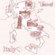 Stock Vector: Creative map of Italy