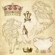 Lion and crown heraldry — Imagen vectorial