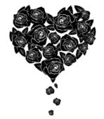Black roses. heart — Stock Vector