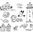 Summer Holidays Doodles — Stock Vector