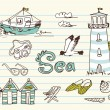 Summer Holidays Doodles — Stockvectorbeeld