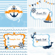 Stock Vector: Nautical cards