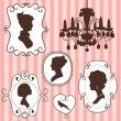 Stock Vector: Vintage frames ladies silhouettes
