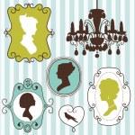 Vintage frames ladies silhouettes — Vector de stock