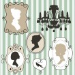 Vintage frames  ladies silhouettes — Stock Vector
