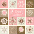 Retro Snowflakes — Vector de stock #35499923