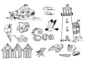 Summer Holidays Doodles — Vector de stock